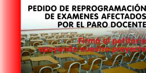 PARO DOCENTE Y PEDIDO DE REPROGRAMACIÓN DE EXAMENES
